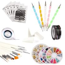 ECBASKET Nail Art Tools Set,5 Nail Stencil Stickers,5 Rhinestones Decoration,5 Dotting Pen Tools,15 Nail Painting Brushes,50 Nail Roll Strip Tape Line,1 Tape Roller Dispenser,5 Gradient Nails Sponges