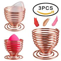 Beauty Blender Holder 3 Pack BTArtbox Stainless Makeup Egg Sponge Holder For Silicone Makeup Sponge Drying (Rose Gold)