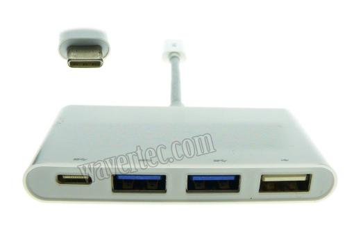 Wavertec USB 3.1 Type C Hub 3 USB A 1 USB C Ports for MacBook