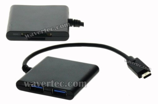 Wavertec USB Type C Hub SD TF Card Adapter 2 USB3.0 Female Ports Short Cable