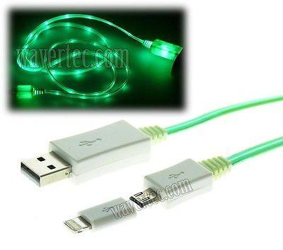 Wavertec Green 3Ft 1M LED Light Micro USB + Female to 8 Pin Lightning Male iPhone Cable 6 OEM