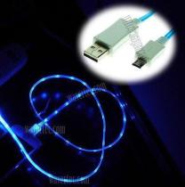 Wavertec Blue Light 3Ft 1M Micro USB Data Sync Charge LED Light Cable