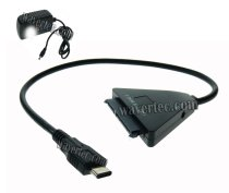 Wavertec 22 Pin SATA to USB C Adapter Cable 12V 2A DC Power for MacBook PC