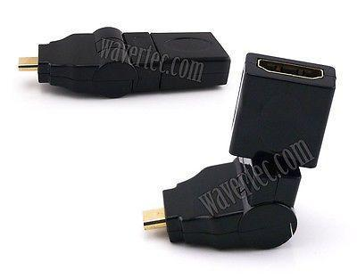 Wavertec 360 90 Degree HDMI to Micro HDMI Converter Adapter HDMI Type D to A