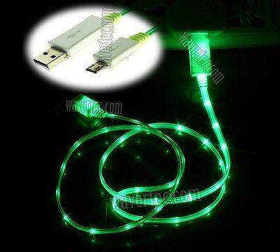 Wavertec Green LED Light Micro USB Charger to USB Cable Illuminated Samsung