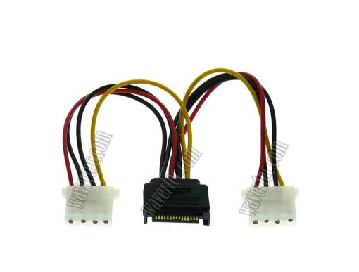 Wavertec 4 Pin Molex to SATA Power Splitter 1:2 Molex Female Adapter Cable