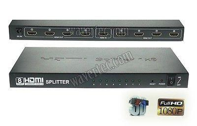 Wavertec 1 In 8 Out HDMI 1.4 Splitter Box 1:8 Multi Screen 3D 1080P HDCP Full HD UK Plug