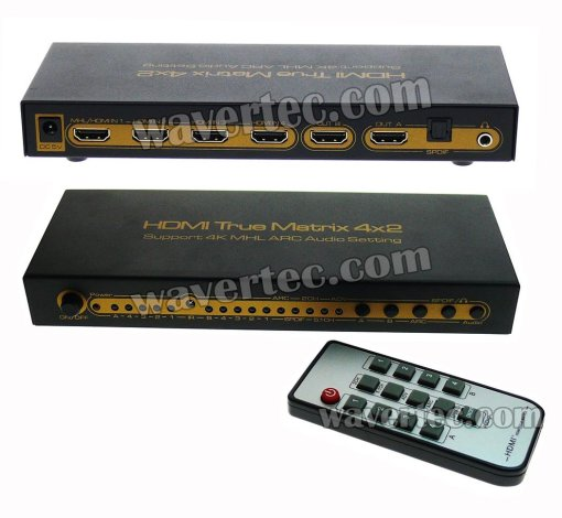 Wavertec 4x2 Matrix HDMI 1.4 Splitter & Switch 4 in 2 out 4K 3D EU Plug Remote Control HDCP Multi Screen Source 1080P Dolby LPCM 7.1 CH Metallic Case LED Female to Female HDMI Hub Extender Connector Switch OEM