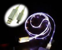 Wavertec White LED Light Micro USB Charger to USB Cable Illuminated Samsung