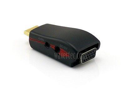 Wavertec HDMI Male to VGA Female + Audio AUX Output + Power Small Adapter Converter OEM