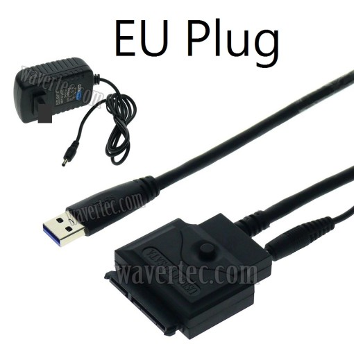 Wavertec EU Plug 80cm 2.5 3.5 SATA to USB 3.0 Adapter Long Cable with DC Power SSD SATA Hard Drive Cable HDD Connector 12A 2V Power