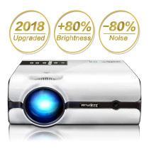 Video Projector, 2400 Lumens Full HD LED Mini Projector 1080P Supported Compatible with HDMI VGA USB AV SD Earphone Jack Home Theater for Movie Party Game