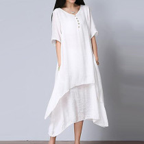 3360f18c8df Women's Asymmetrical Plus Size Daily / Weekend Loose Dress - Solid Colored  White,