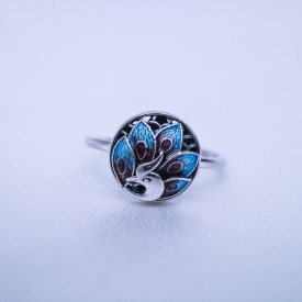 Burning Blue Cloisonné Ring - Peacock