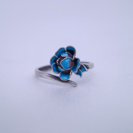 Burning Blue Cloisonné Ring - Peony