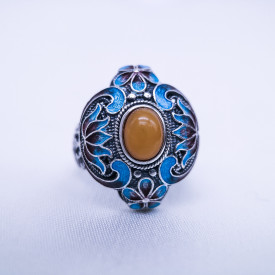 Burning Blue Cloisonné Ring -Lotus Flower