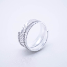 Engraved Chisel  Ring - Forest Collection - Wheat Leave