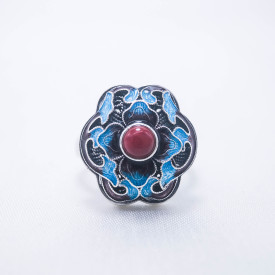 Burning Blue Cloisonné Ring - Blossoming- Red Agate