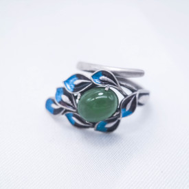Burning Blue Cloisonné Ring - Leaves -Green Jade