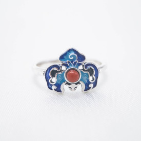 Burning Blue Cloisonné Ring - Lucky Bat