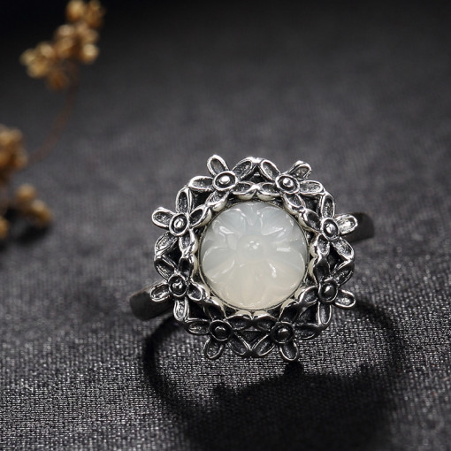 Luxe Flower Jade Silver Ring