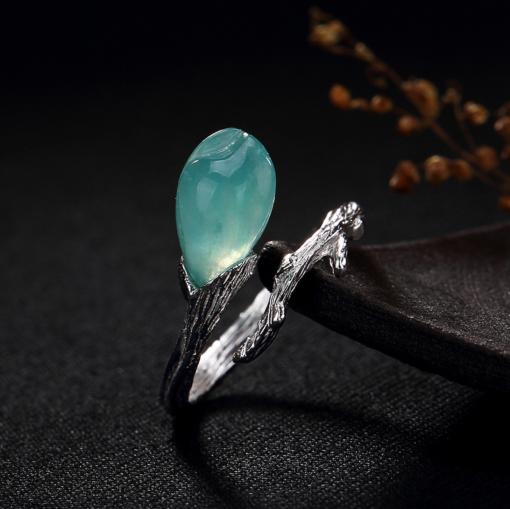 Amazonyte Silver Ring - Blue Drop