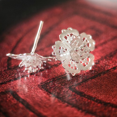 Filigree Earrings - Forest Collection - Peach Flower