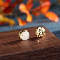 Gold Covered Ball - Gilt Silver Jade Ear Stud