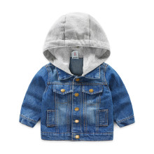 Toddler Boys Blue Denim Jacket Hoodie Outerwear