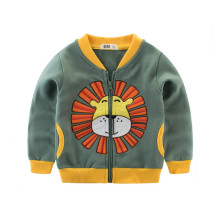 Green Print Lions Toddler Boys Color Matching Fleece Jacket