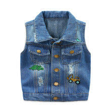 Toddler Boys Print Cartoon Ripped Denim Sleeveless Jacket Vests