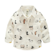 Toddler Boys White Print Cars Long Sleeve Shirt