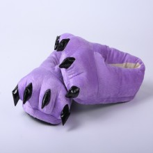 Cozy Purple Flannel House Monster Slippers Halloween Animal Costume Paw Claw Shoes