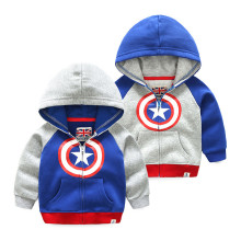 Grey Toddler Boys Warm Hoodie Coat Color Matching Outerwear