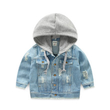 Toddler Boys Ripped Denim Light Blue Jacket Hoodie Outerwear