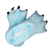 Cozy Light Blue Flannel House Monster Slippers Halloween Animal Costume Paw Claw Shoes