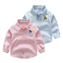 Toddler Boys Blue Stripes Embroidered Balloons Cotton Long Sleeve Shirt