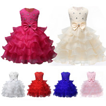 Flower Girl Party Dress 3D Flowers Ruffles Lace Princess Wedding Dresses