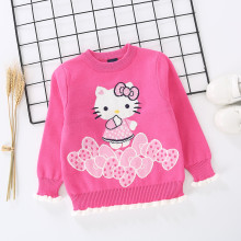 Toddler Girl Knit Pullover Sweater Ruffled Kitty Pattern