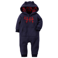 Baby Boy Zip-Up Print Bear Polar Fleece Long Sleeve One piece