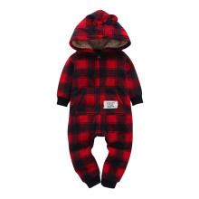Baby Boy Zip-Up Red Plaids Polar Fleece Long Sleeve One piece