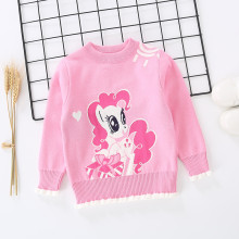 Toddler Girl Knit Pullover Sweater Ruffled My Little Pony Pattern