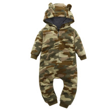Baby Boy Zip-Up Print Army Polar Fleece Long Sleeve One piece