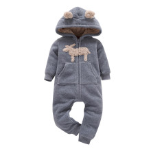 Baby Boy Zip-Up Grey Sheep Polar Fleece Long Sleeve One piece