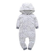 Baby Boy Zip-Up Print Grey Hearts Polar Fleece Long Sleeve One piece