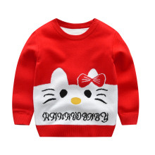 Toddler Girls Knit Pullover Upset to Keep Warm Kitty Sweater
