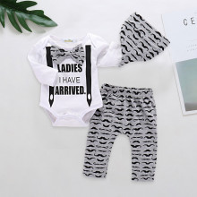 3PCS Baby Boy Beard Long Sleeve Romper Print Pants Bodysuit Hat Clothes Outfits Set