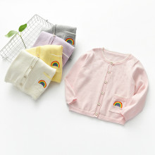 Toddler Girl Knit Cardigan Sweater Embroidery Rainbow Pattern