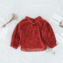 Toddler Girl Polka Dot Bowknot Long Sleeve Blouse