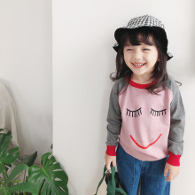 Toddler Girl Knit Pullover Cute Smiling Face Patterns Sweater